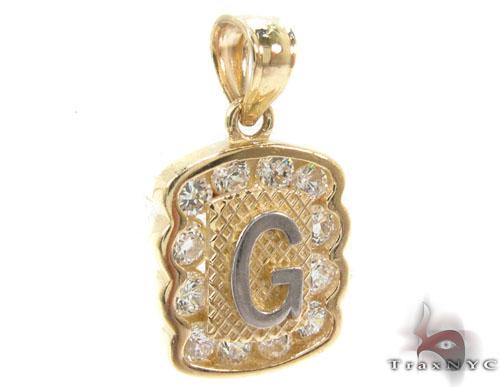 CZ 10K Gold Letter G Pendant Metal