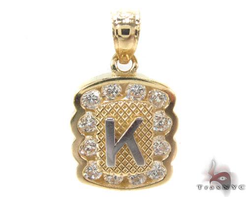 CZ 10K Gold Letter K Pendant Metal