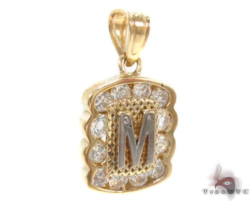 CZ 10K Gold Letter M Pendant Metal