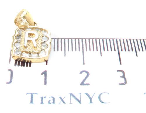 Letter R CZ 10K Gold Pendant Metal