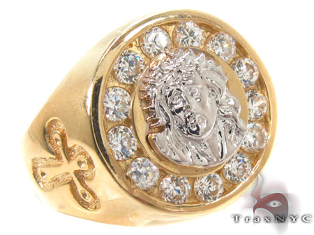 CZ 10K Gold Ring 33269 Mens Gold Rings