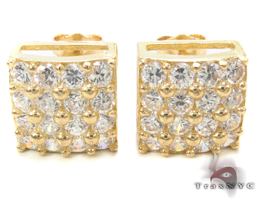 CZ 10K Gold Square Earrings 34230 Metal