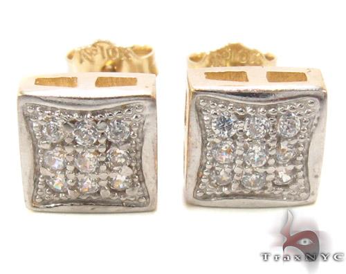 CZ 10K Gold Square Earrings 34234 Metal