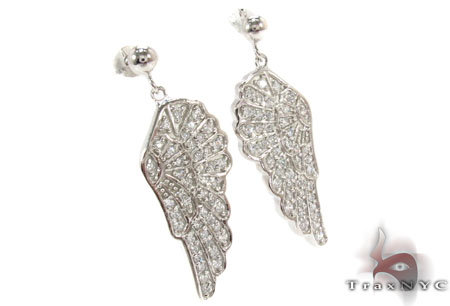 CZ Angel Silver Earrings 31433 Metal