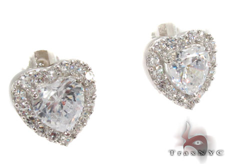 CZ Heart Silver Earrings 31432 Metal