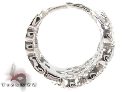 CZ Hoop Silver Earrings 31435 Metal