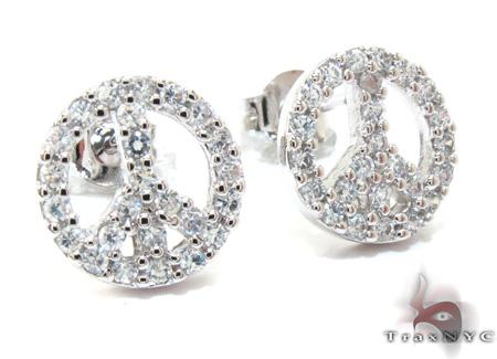 CZ Silver Peace Sign Earrings 21998 Metal