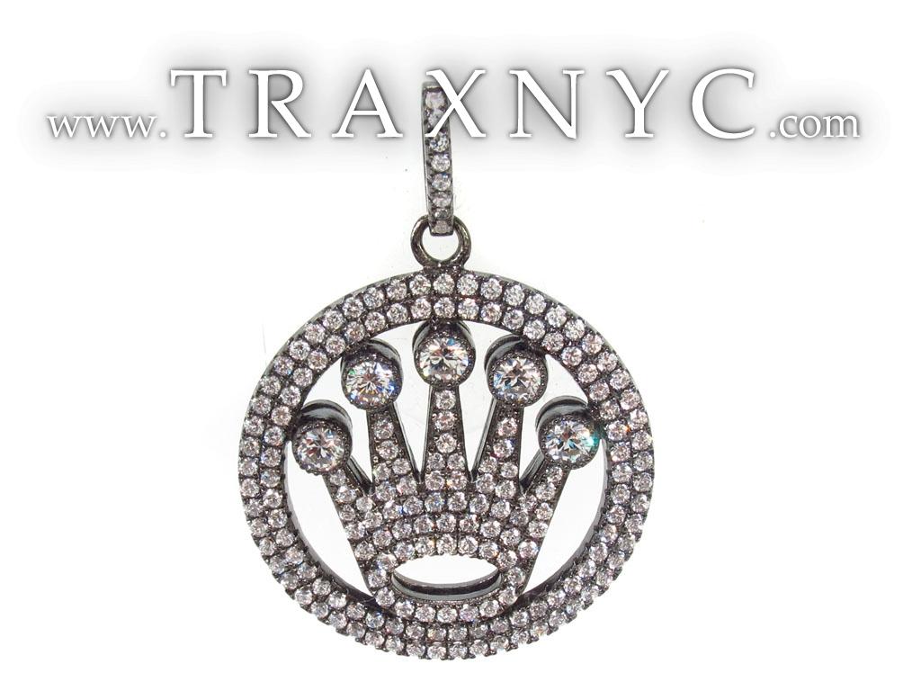 silver crown pendant mens sterling silver pendant 925 silver