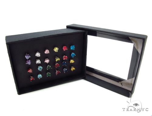 CZ Silver Earrings 12 Pairs Set 35593 Metal