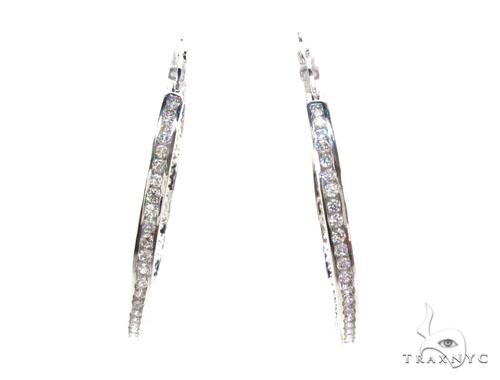 CZ Silver Hoop Earrings 36128 Metal