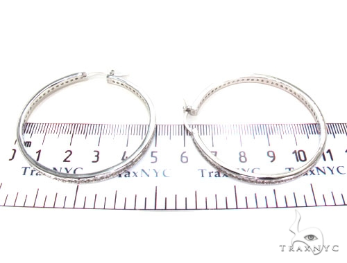 CZ Silver Hoop Earrings 36128 Metal