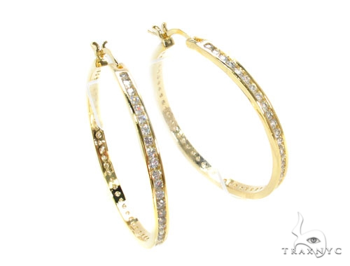 CZ Silver Hoop Earrings 36130 Metal