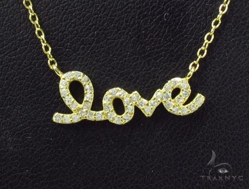 CZ Silver Love Necklace 35960 Silver