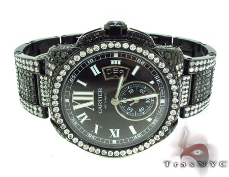 Cartier Full Diamond Calibre Watch Black Diamond Watches