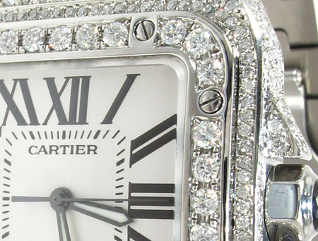 Cartier Santos 100 Large Full Diamond Watch Cartier