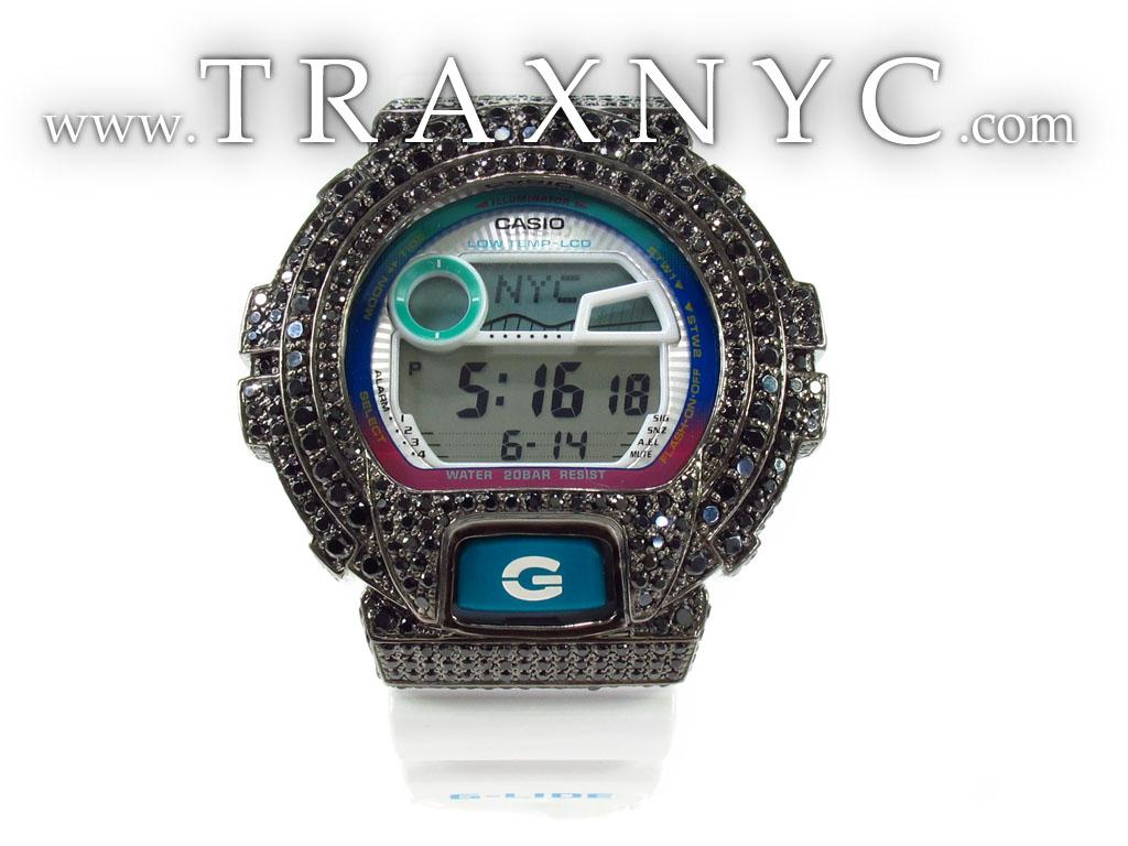 casio g shock black cz mens g shock watches 925 silver