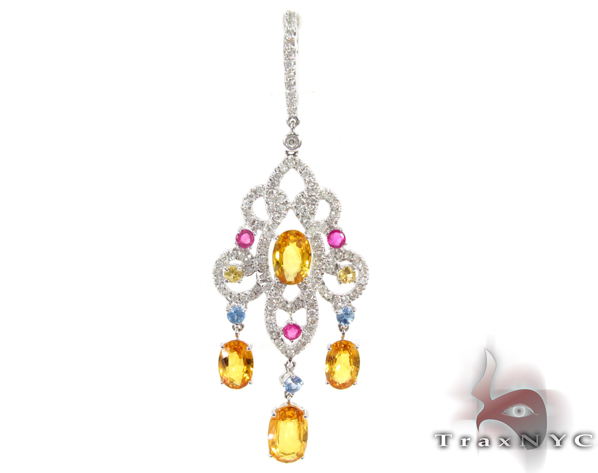 Chandelier Colored Sapphire & Diamond Pendant Stone