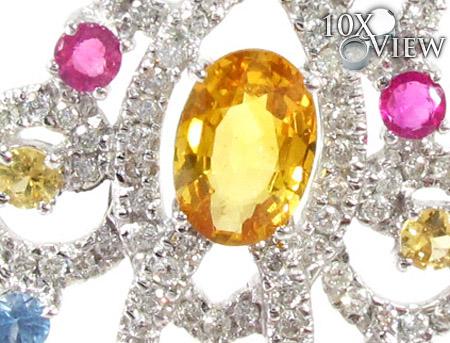 Chandelier Colored Sapphire & Diamond Pendant Stone