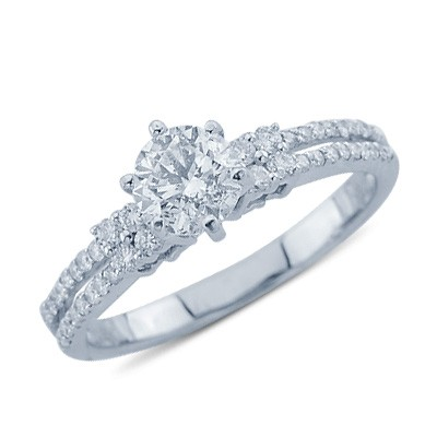 charming cut promise ring in 18k white gold