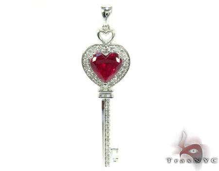 Synthetic vivid red ruby heart key pendant ladies style white gold 14k aloadofball Image collections