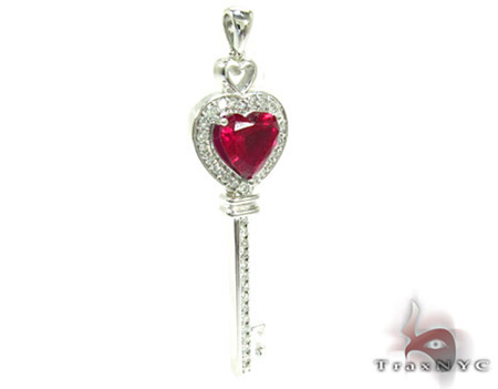 Synthetic Vivid Red Ruby Heart Key Pendant Style