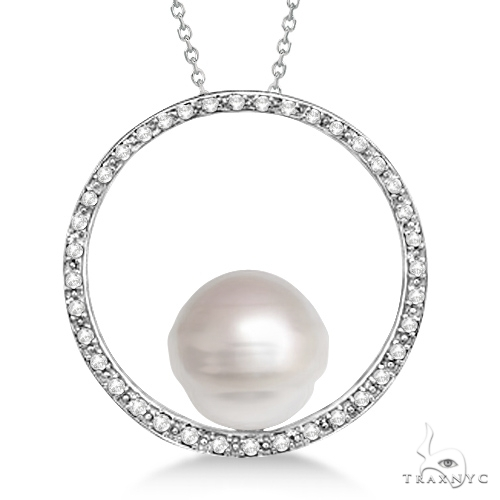 Circle Diamond and Paspaley South Sea Pearl Pendant 14K W. Gold (13mm) Stone