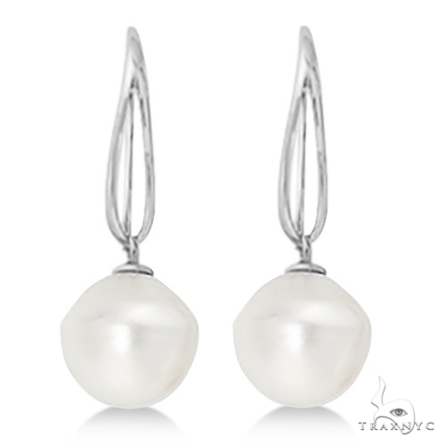 Circle South Sea Cultured Paspaley Pearl Earrings 14K White Gold (12mm) Stone