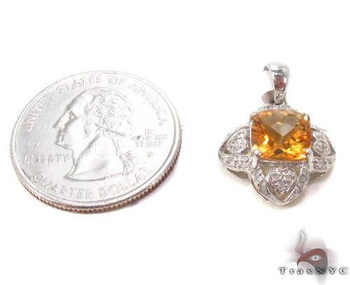 Cushion Citrine & Diamond Pendant 34033 Stone