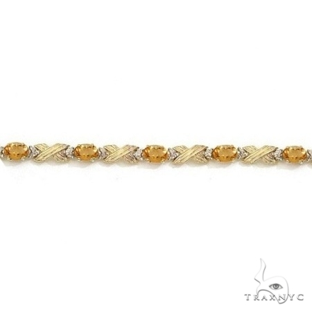 Citrine and Diamond XOXO Link Bracelet 14k Yellow Gold Gemstone & Pearl