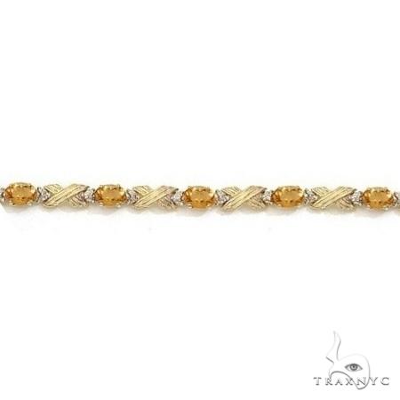 Citrine and Diamond XOXO Link Bracelet 14k Yellow Gold Gemstone & Pearl