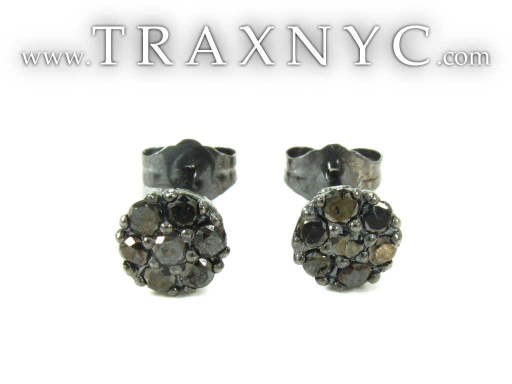 Cluster Black Diamond Stud Earrings Black Diamond Earrings for Men Gold 14k