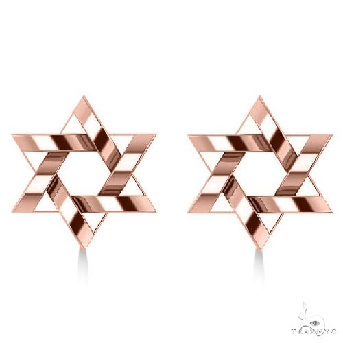 Contemporary Jewish Star of David Earrings in 14k Rose Gold Metal