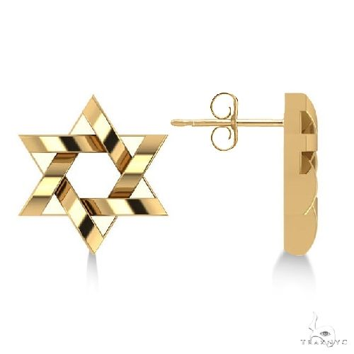 Contemporary Jewish Star of David Earrings in 14k Yellow Gold Metal