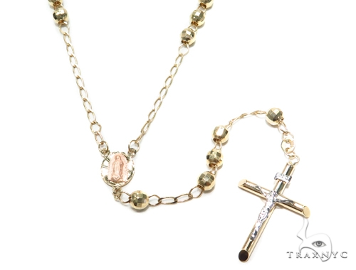 Cross Gold Rosary Chain 30 Inches 5mm 12.4 Grams 42460 Gold