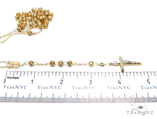 Cross Gold Rosary Chain 30 Inches 5mm 13.5 Grams 42458 Gold