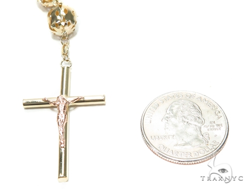 Cross Gold Rosary Chain 36 Inches 10mm 53.6 Grams 42457 Gold