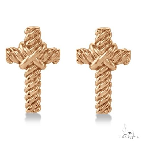 Cross Rope Stud Earrings in Plain Metal 14k Rose Gold Metal