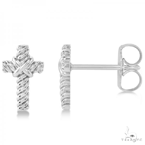 Cross Rope Stud Earrings in Plain Metal 14k White Gold Metal