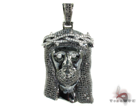 Crown of Thorns Jesus Black Diamond Pendant Diamond Jesus Piece