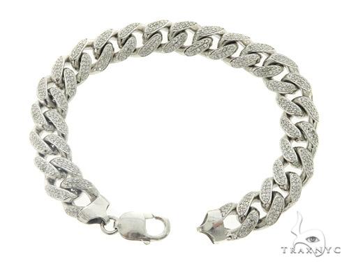 Cuban Silver CZ Bracelet 49452 Silver