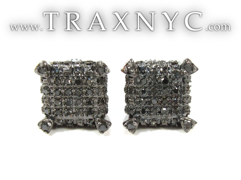 Cube Black Diamond Stud Earrings Mens Sale White Gold 14k