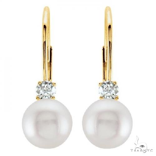 Cultured Akoya Pearl and Diamond Earrings Leverbacks 14K Yellow Gold Stone