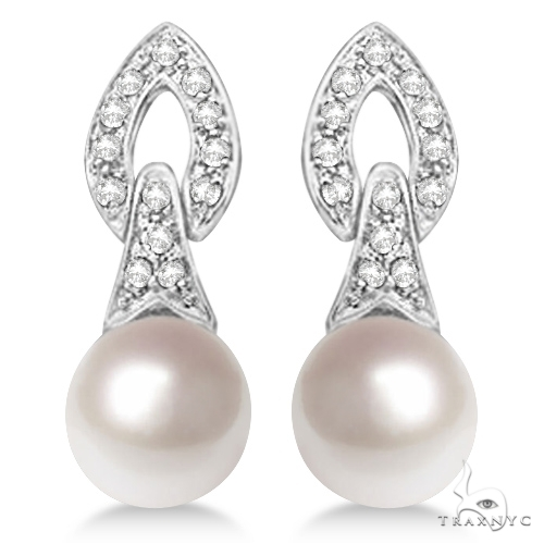 Cultured Freshwater Pearl and Diamond Drop Earrings 14K White Gold (7mm) Stone