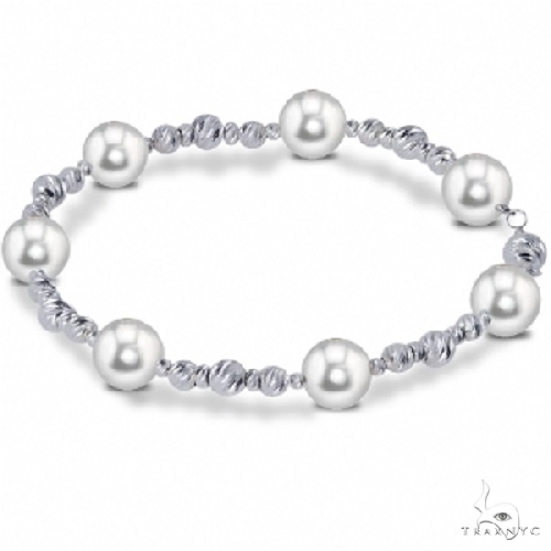 Cultured Freshwater Pearl and Sterling Silver Bead Bracelet 8.5-9mm Gemstone & Pearl