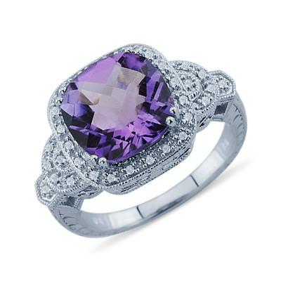 K White Gold Cushion Cut Purple Amethyst And Round Diamond Ring