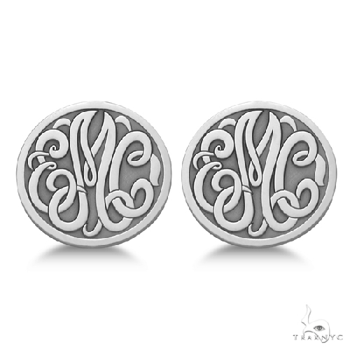 Custom 3 Initial Monogram Post-back Circle Earrings in 14k White Gold Metal