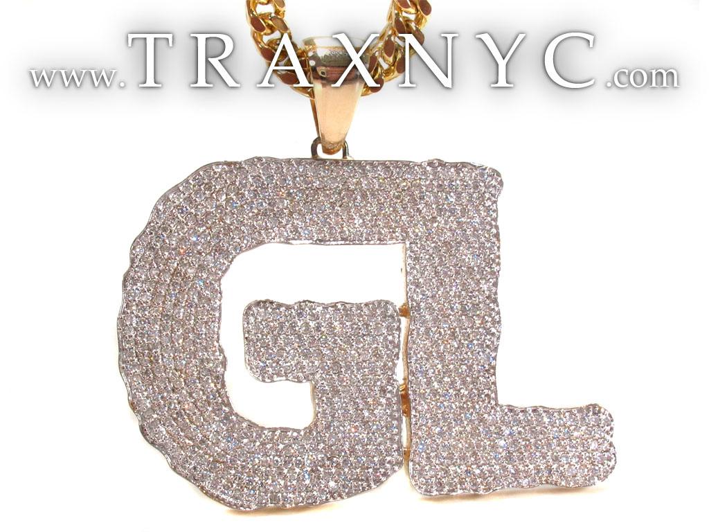Custom Diamond Gl Pendant 32894 Mens Metal Yellow Gold 14k