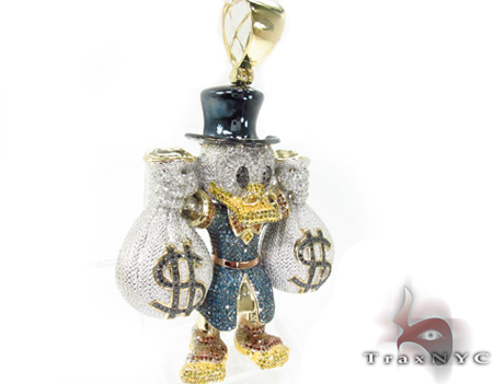 Custom Jewelry - Scrooge McDuck Blue Diamond Pendant Metal