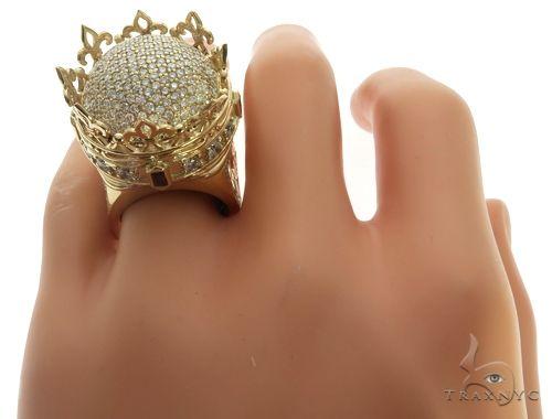 Custom Made 14K Yellow Gold Prong Diamond Royal Crown Ring 63886 Stone