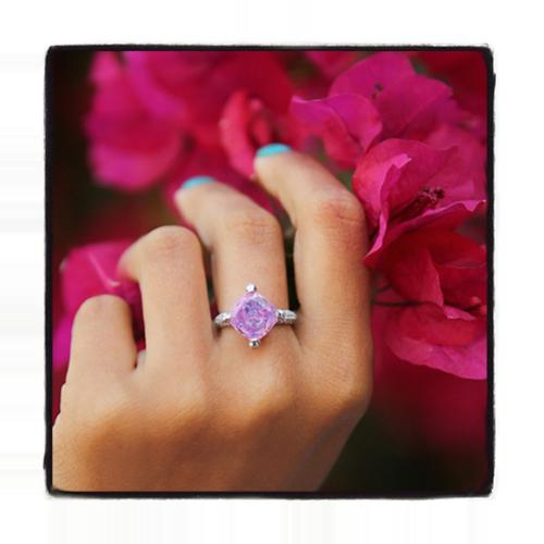 Custom Pink Amethyst Diamond Ring Anniversary/Fashion
